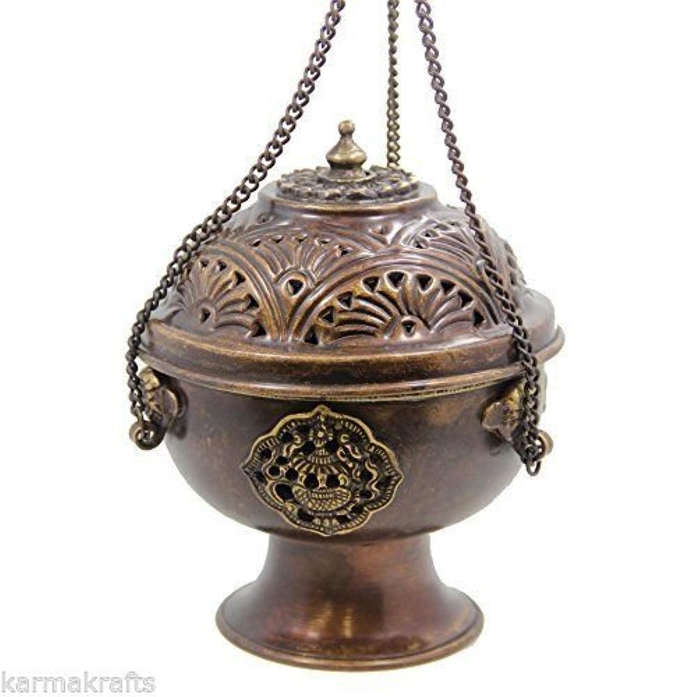チベットHanging DharmaObjects Incense Burner ~銅W /チベットシンボル~ 5.25