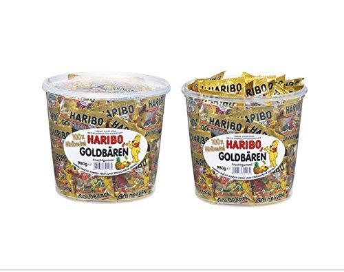 【HARIBO】ハリボー グミ ミニゴールドベア ドラム 980g (2個セット) (ハリボー グミ (2個セット))