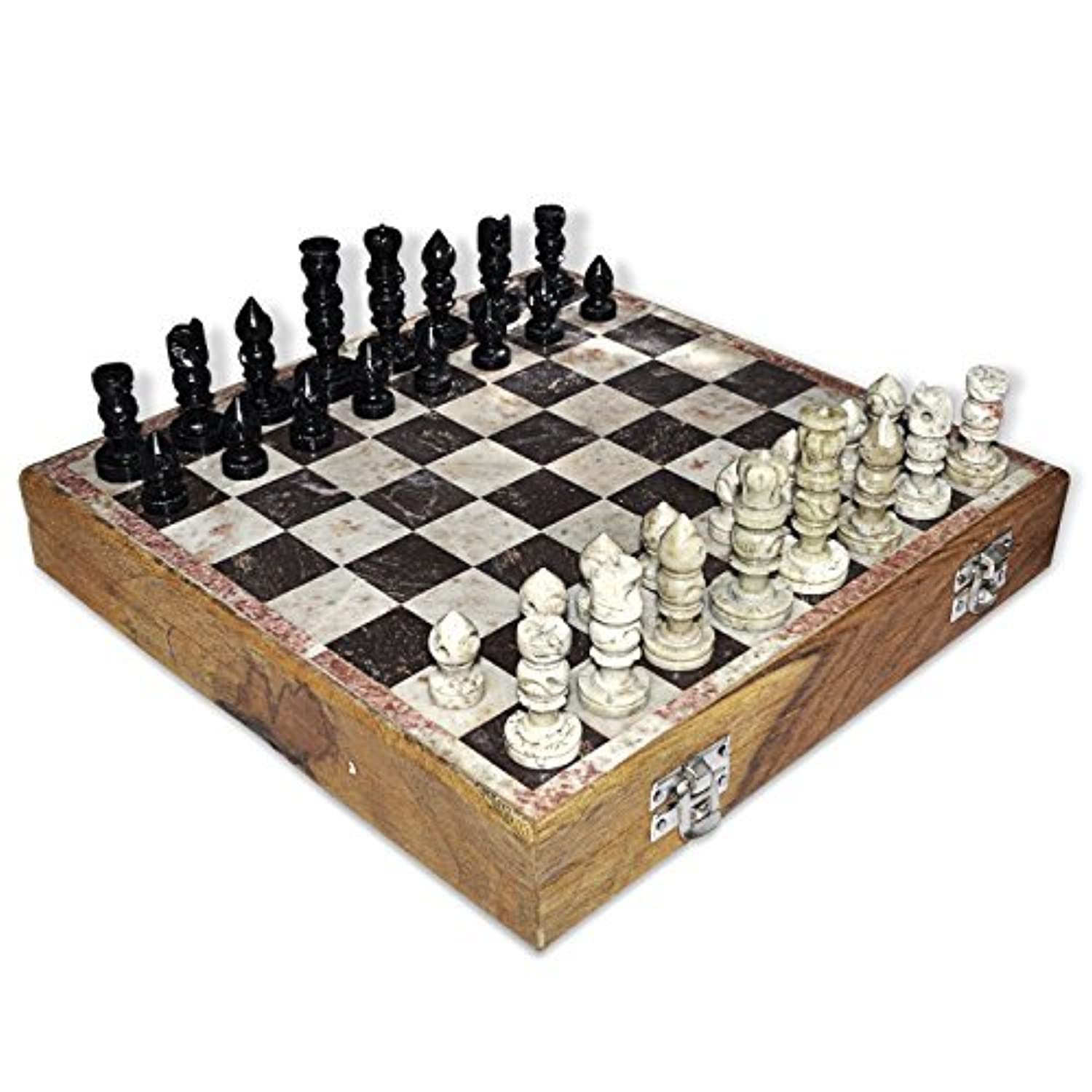 Dungri India 12x12 Stone Wooden Chess Game Board Set + Hand Crafted Pawns by Dungri India Craft [並行輸入品]