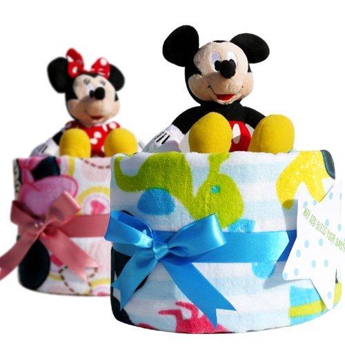 ディズニー 1段 おむつケーキ バスタオル ぬいぐるみ付 男の子用 ブルー ミッキーマウス ( 出産祝い )