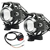 Motorcycle LED Headlight Truck Spotlight U5 ATV Fog Light Boat Driving Lighting Offroad Auxiliary Lamp Mini Front Daylight 12v 24v High Low Beam Strobe Modes w/Toggle Switch White