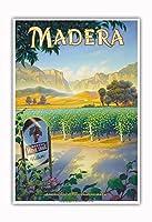 マデラ(サン・ホアキン・バレー)・ワイナリー - セントラルヴァレーAVAブドウ園 - カリフォルニアワインカントリーアート によって作成された カーン・エリクソン - アートポスター - 33cm x 48cm