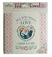 "Cook Shop 207030008 "" All you need is love (and a cat)"" Tea Towels, Paleピンクパステル"