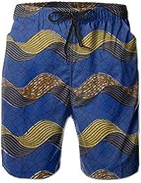 幾何学の波柄 メンズ サーフパンツ 水陸両用 水着 海パン ビーチパンツ 短パン ショーツ ショートパンツ 大きいサイズ ハワイ風 アロハ 大人気 おしゃれ 通気 速乾