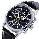 腕時計 メンズ ブラック ホワイト ブルー ファッション アナログ クロノグラフ風 生涯保証付き tohoinfinity 保管袋 キーピングバッグ付 (ブラック)