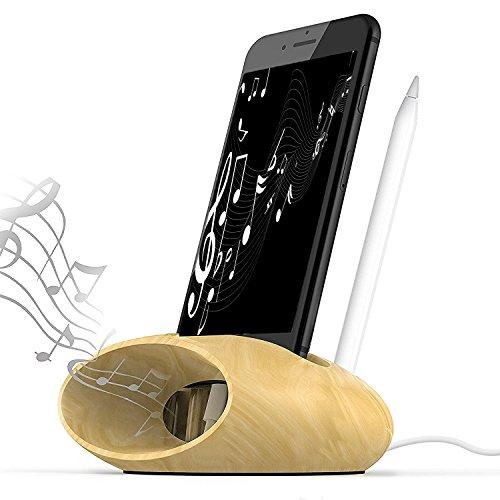 iPhoneスタンド ペン立て スマホスピーカー スマフォンスタンド 木製 携帯ホルダー ペンスタンド 木製スピーカー 置くだけ 電源不要 iPhone Galaxy Nexusに対応