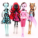 4pcs Monster High Dolls Set Draculaura Clawdeen Wolf Frankie Stein d-wydownaa人形