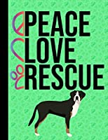 Peace Love Rescue: Sketchbook 8.5 x 11 Blank Paper 100 Pages Notebook For Drawing Art Journal Greater Swiss Mountain Dog Green Cover