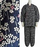 女性用 作務衣 夏用綿ちりめん素材で涼しい さむえ (Mサイズ, D 紺系 総柄 夏用ちりめん)