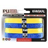 Karakal テニスラケット 交換用グリップ デュオ スーパーPU 2個パック イエロー/ブルー