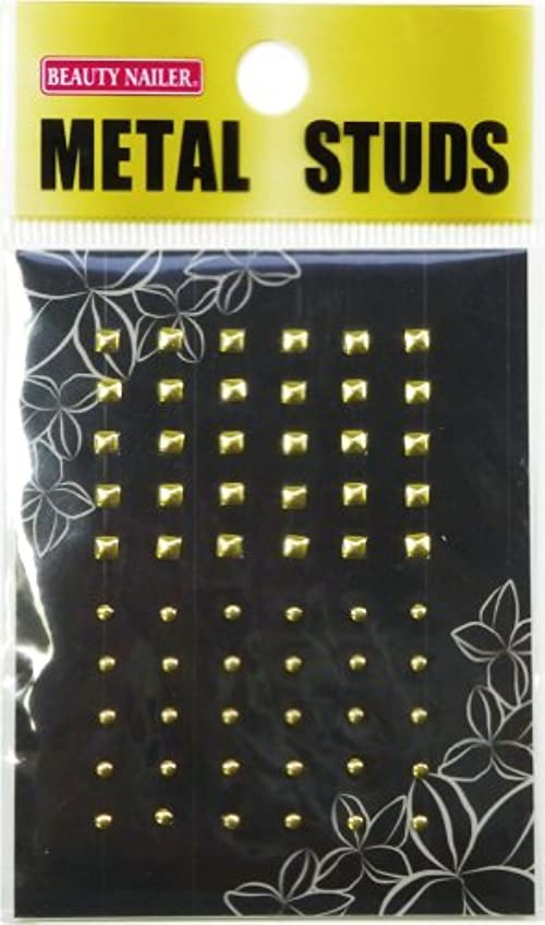 エスニック悪行アルファベット順ビューティーネイラー ネイル用ストーン メタルスタッズ(ゴールド) MN-2