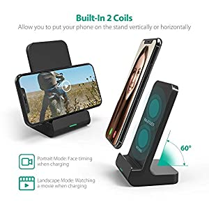 Wireless Charging Stand RAVPower 2 Coils Qi Certified Fast Wireless Charger 10W Qi for Galaxy S8, S7 & Note 8, 5W, S9, S9+ for iPhone X, 8 & 8 Plus and All Qi-Enabled Devices (Black)