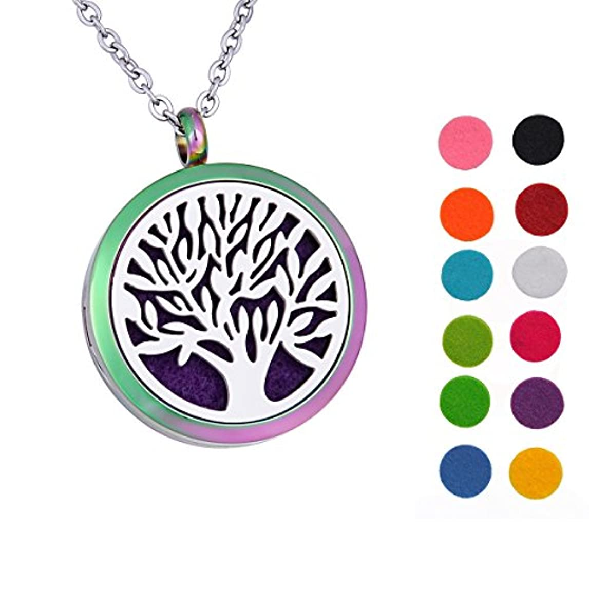 Tree of Life Aromatherapy Essential Oil Diffuserネックレス316ステンレス鋼ロケットペンダント24