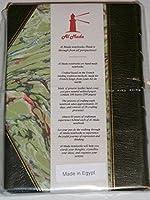 Al Madaノートブック: French binding traditional、手本革と裏地なしの紙製、ダークグリーン、フォレストハードカバー( 3.9X 5.5、100シート( 200ページ)