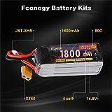 FCONEGY 4S 14.8V 1800mAh 80C リポ バッテリー/RCバッテリー/Lipoバッテリーパック ラジコン飛行機/FPV/ドローン/マルチコプターに適用 専用電池 XT60 プラグ付き 画像