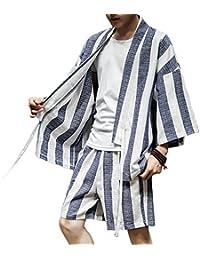 Zhhlaixing ファッション メンズ 夏 コットンリネン Open Front Drawstring 着物 衣類 ユース カジュアル ルーズ Thin 2 piece set