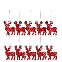 Tichan クリスマスハンギングオーナメント、10個の木製クリスマスツリーハンギングタグペンダント、木製ハンギングオーナメントクリスマスデコレーション用ストリング付きデコレーション (A)