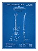 "1958Gibson Explorer Guitar特許印刷アートポスター額なし青写真18"" x 24"""