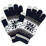 (トレリア) Trelia スマホ 手袋 レディース タッチパネル ニット グローブ 雪柄 ノルディック柄 防寒 あったか #a111 (ネイビー)