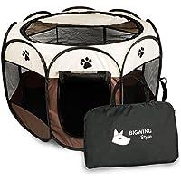 BIGWING 折りたたみ 八角形 ペットサークル プレイサークル 犬 猫 兼用 コンパクト メッシュ お出かけ用品 コーヒー S