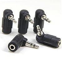 wuernine 5個セット L字型3.5mmステレオミニジャック-3.5mmステレオミニプラグ 変換コネクタアダプタ 断線予防用 AUX端子用 ヘッドホン/イヤホンケーブル対応コネクタアダプタ