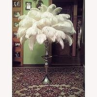 """卸売ハードロッド20枚/ロット、白、自然ダチョウの羽15〜60センチメートル6-24""""結婚式誕生日、クリスマスの装飾DIY:50センチメートルto55cm"""