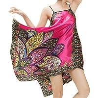 FSSE Women's Satin Sexy Sleepwear Silk Bohemian Print Nightgown Sleepwear Dress