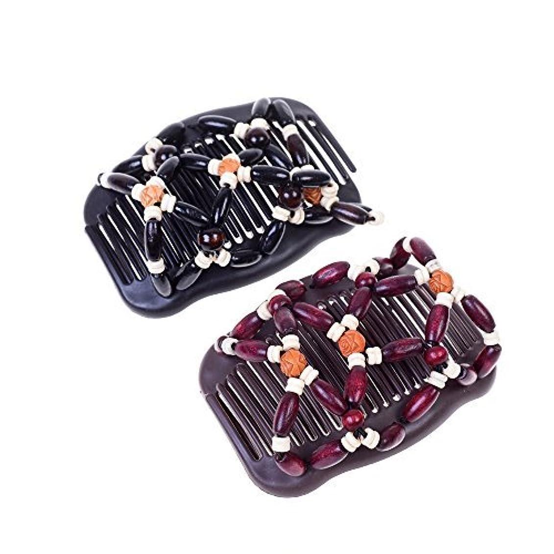差し控える毎日のためにKloud City Women Magic Combs Wood Beaded Stretch Double Side Combs Clips Bun Maker Hair Accessories (Burgundy...