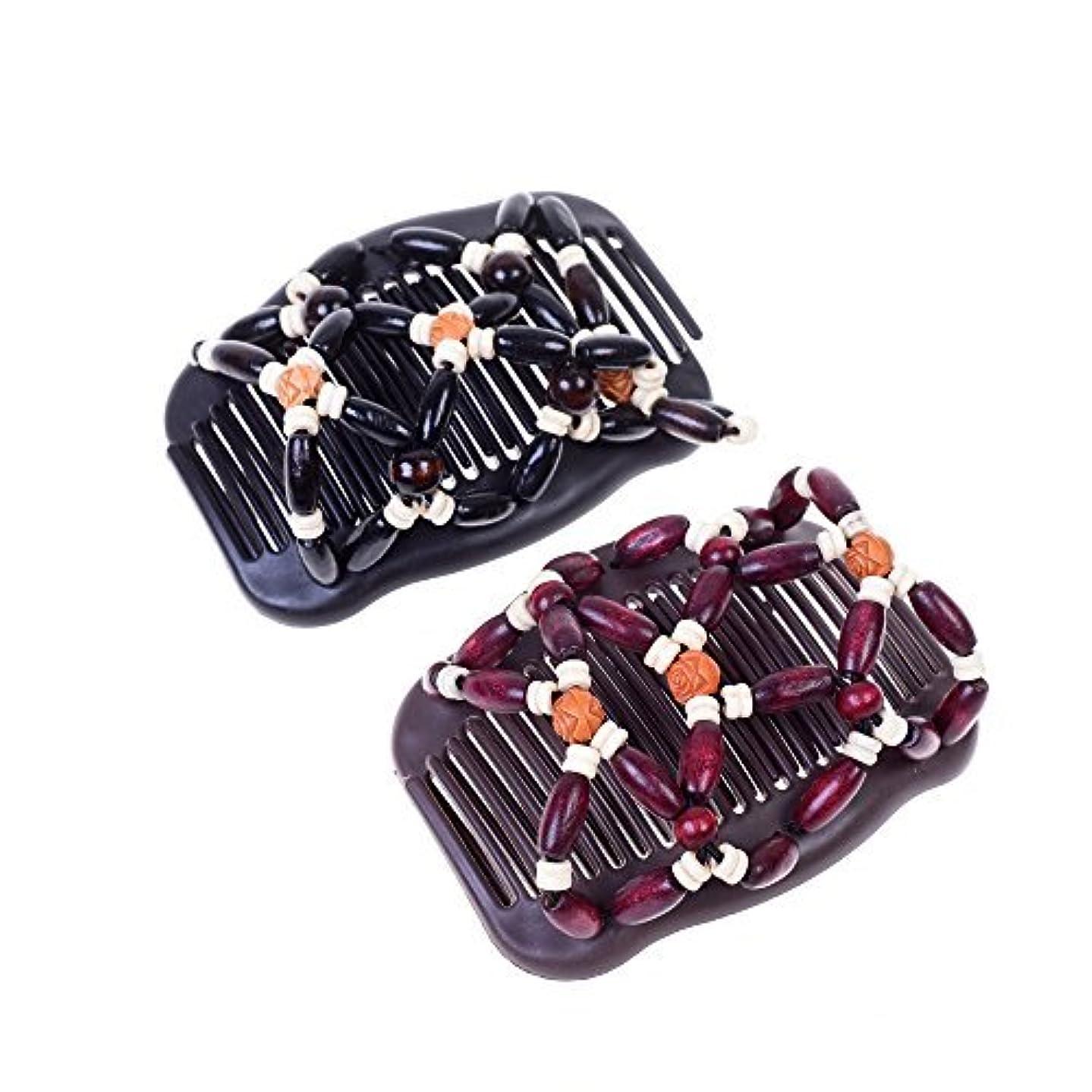 ミサイル曲線アナリストKloud City Women Magic Combs Wood Beaded Stretch Double Side Combs Clips Bun Maker Hair Accessories (Burgundy...