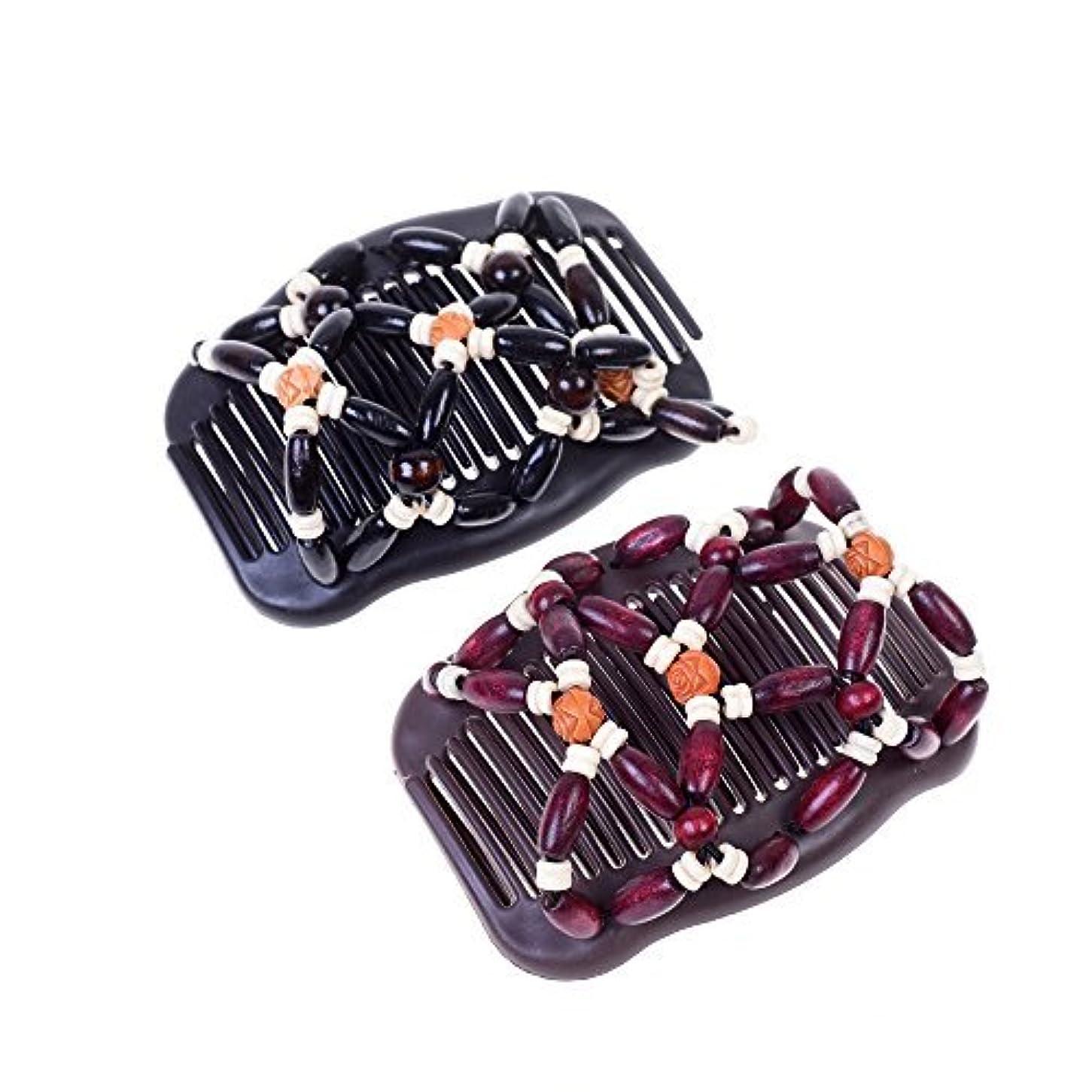猟犬受取人まとめるKloud City Women Magic Combs Wood Beaded Stretch Double Side Combs Clips Bun Maker Hair Accessories (Burgundy...
