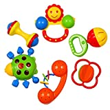 KAWO Baby's First Rattle Set Cartoon Teether Play Toy Infant Musical Toy Christmas Gift 6 Pieces- Colors May Vary by KAWO