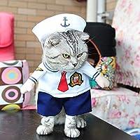小猫セーラー警察兵士ペットの猫コスチューム服犬服スーツ+帽子のための新しい制服犬コスチューム:セーラー、L