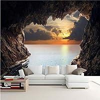 Lcymt カスタム写真の壁紙3D立体洞窟海景日の出テレビの背景現代壁画壁紙リビングルーム寝室の壁アート-200X140Cm