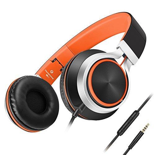 Ailihen C8 ヘッドフォン 軽量折りたたみ式マイク付きヘッドフォン iPHone、iPad、Androidスマートフォン、PC、ラップトップ、Mac、MP3/MP4、タブレット用、音楽およびゲーム用ヘッドセット C8-BO AILIHEN
