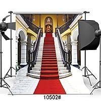 sjoloon 10x 10ftシンビニールレッドカーペットウェディング写真背景Golden Palace Backdrops for Photo Studio 10502