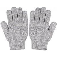 Moshi Conductive Fiber on All 10 Fingertips Digits Touchscreen Gloves, Small/Med, Light Grey