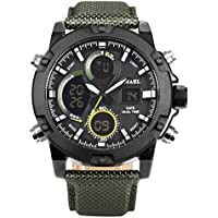 AMPM24 Mens Big Face Sports Watch, LCD Digital Analog Waterproof Military Luminous Army Green Wrist Watch WMB020