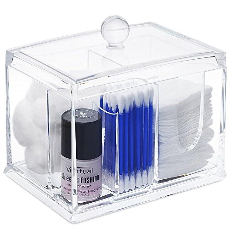 将来のペレグリネーションヒットSTARMAX 棉棒ボックス 透明 アクリル製 フタ付き 防塵 清潔 化粧品小物 収納ケース 綿棒入れ 小物入れ 化粧品入れ コスメボックス (14cm*10cm*10.5cm)