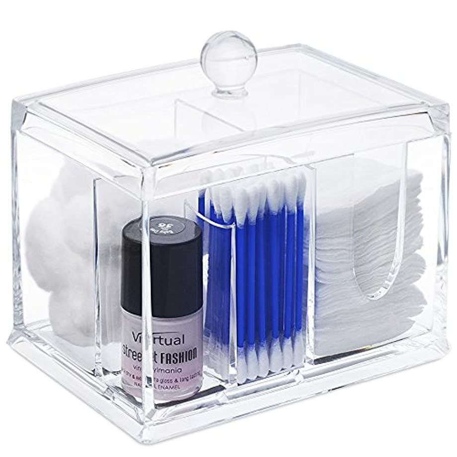 STARMAX 棉棒ボックス 透明 アクリル製 フタ付き 防塵 清潔 化粧品小物 収納ケース 綿棒入れ 小物入れ 化粧品入れ コスメボックス (14cm*10cm*10.5cm)