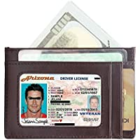 Wallet Men Women Credit Card Holder Vodabang Slim Minimalist Front Pocket RFID Blocking Genuine Leather Wallets with Gift Box