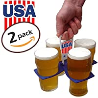 USA BRANDED TWIN PACK Fold Away Cup Carrier / Coffee / Soft Drink / Beer Carrier Holder - Sturdy Reusable Pocket Size - Festival Essential - Easy and safe for hot drinks - Perfect for sports fans by CarryAround
