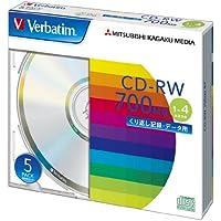 三菱ケミカルメディア Verbatim  くり返し記録用 CD-RW SW80QU5V1 (1-4倍速/5枚)