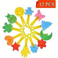youniker 12パックスポンジ画家絵画スポンジ図形for Kids初期学習Crafting PaintingスポンジDIYペイントスタンプ子供絵画ツールギフト