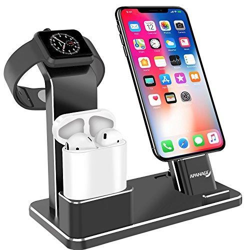 Apple Watch 充電スタンド スマホ ホルダー 多功能 4 IN 1 卓上スタンド Apple Watch/iPhone/iPad/iPod対応 4 IN 1 スマホ 設置台 携帯電話充電スタンド(ブラック)