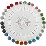 KOOBOOK 30Pcs/Set Muslim Hijab Scarf Pin Rhinestone Ball Pendant Pins Brooch Straight Head Pin for Women