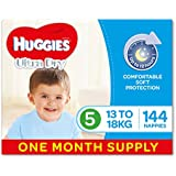 Huggies Ultra Dry Nappies, Boys, Size 5 Walker (13-18kg), 144 Count, One-Month Supply, Packaging May Vary