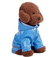 アンジェリツコ【セール中】 ダブルライン 犬 レインコート ペット 防災 ドッグ <ペット用 犬のかっぱ 反射板付き>足つき わんちゃん 小型犬 フード付き お散歩 帽子 雨 (XL, ブルー)