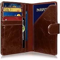 GreatShield RFID ブロッキング パスポート カバー ポーチ ホルダー / スキミング防止 クレジットカードケース / トラベル レザーウォレット / 長財布 / 海外旅行グッズ (5カードポケット, 3現金ポケット, 1パスポートポケット) [磁気データ保護 / 個人情報盗難防止 / NFC保護セキュリティ / 本革製 / 男女兼用] (ブラウン)