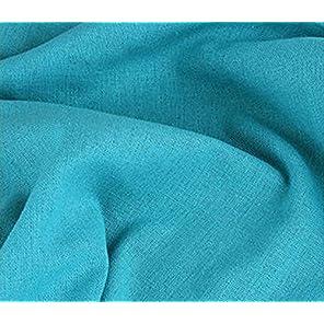 全23色 カラー 綿 麻 布 衣類用 無地 生地 幅1.5m キャンバス コットン リネン ハンドメイド 手芸 刺繍 裁縫 用 単色 (2m, 水色(ライトブルー))