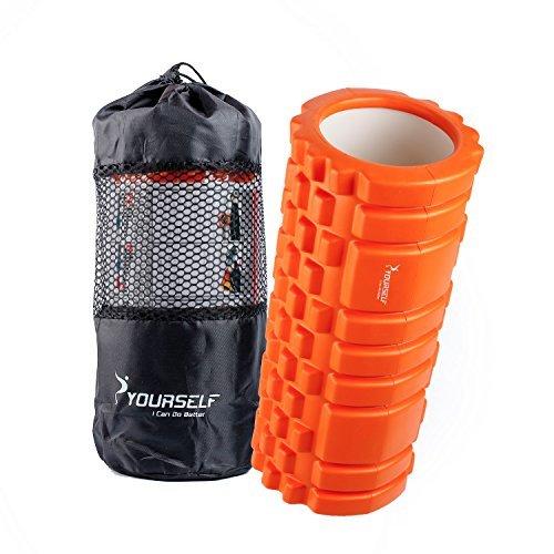 Syourself マッサージフォームローラー&Foam Roller-高弾力のEVAエコ素材、ストリガーポイント、グリッド、14cm×33cm、筋膜リリース、深部までマッサージ、物理療法、ヨガポール-フィットネス/エクササイズ/ダイエット/ヨガ/ピラティス/に最適、腰痛/肩コリ/筋肉痛を改善+専用ポーチ、説明書付 (オレンジ)